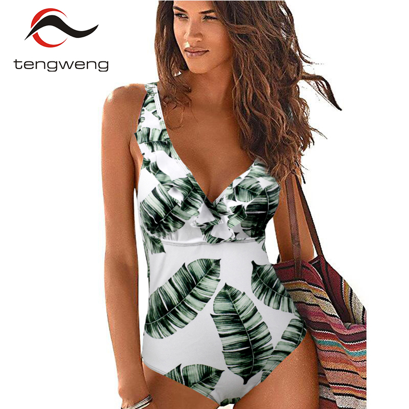 Tengweng 2019 Sexy Female Retro V Neck leaf print Swimsuit One Piece Ruffled Push Up Padded High Waist Swimwear Women Monokini in Body Suits from Sports Entertainment