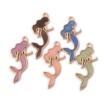 5 Color Cute Cartoon Mermaid Enamel Dangle Charm Pendant Ornaments for Women Bracelet Earrings Necklace Jewelry Making 20Pcs/lot(China)