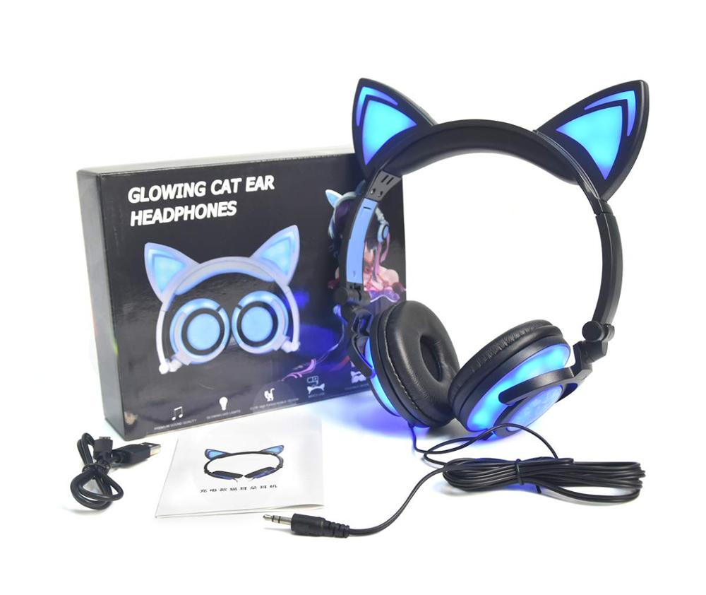 Image 5 - LIMSON Wired Stereo Cartoon Kids Earphone Foldable LED Flashing Cat Ear Cute Headphones for children-in Headphone/Headset from Consumer Electronics