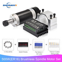 Brushless Spindle 500W Air Cooled Spindle Motor ER16 Router Machine 55MM Clamp Stepper Motor Driver Switching Power Supply