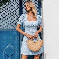 Vestido casual vintage verano cuello cuadrado flores 5