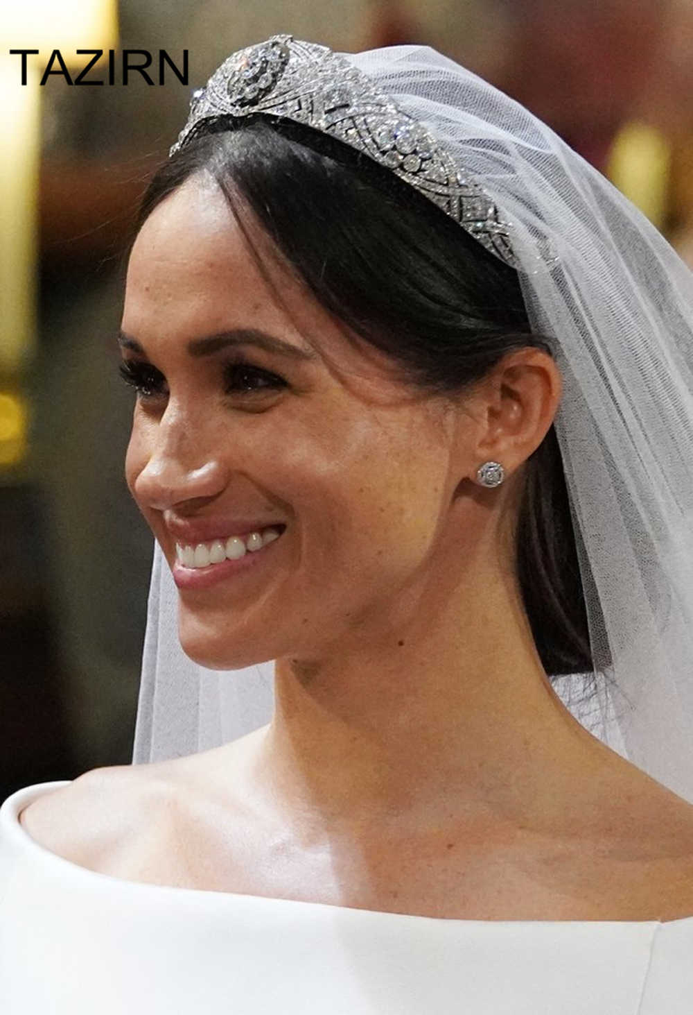 Meghan Markle Dei Capelli del Diadema di Cerimonia Nuziale Corona Zircone Diadema Della Principessa Donne Diademi e Corone Per La di Spettacolo Del Partito di Accessori Da Sposa