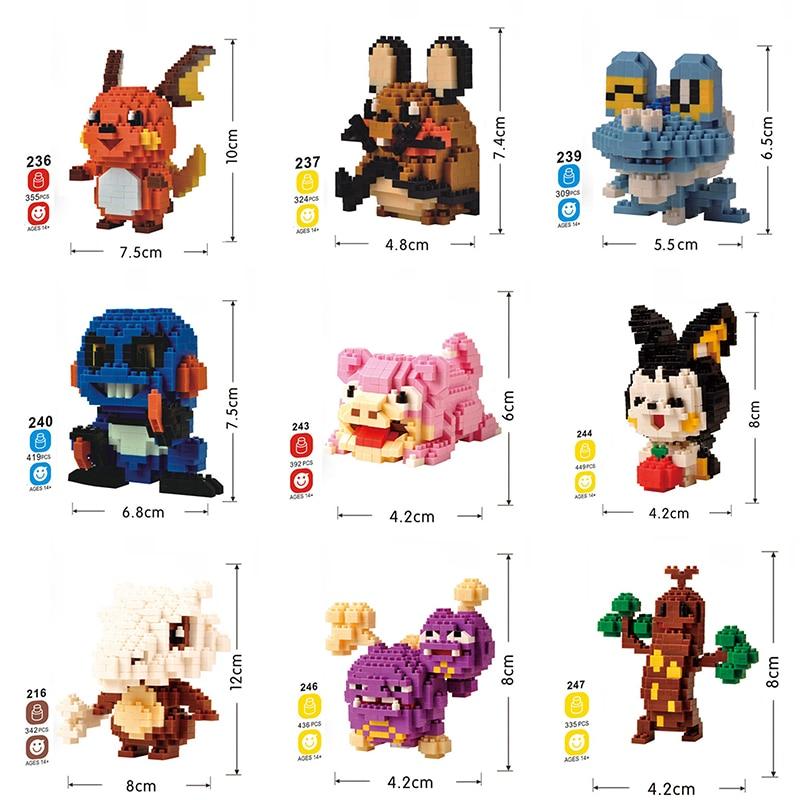 DIY Diamond Building Blocks Mini Cartoon Pikachus Animals Model Educational Figures Bricks Compatible Toys For Children No Box