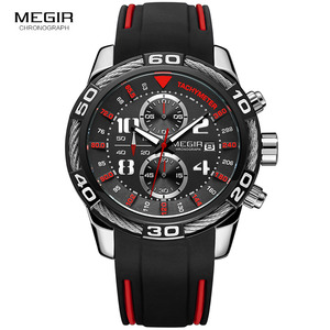 Image 3 - Megir reloj de cuarzo con batería y cronógrafo analógico para hombre, pulsera deportiva, brazalete de silicona negro, cronómetro, 2045G