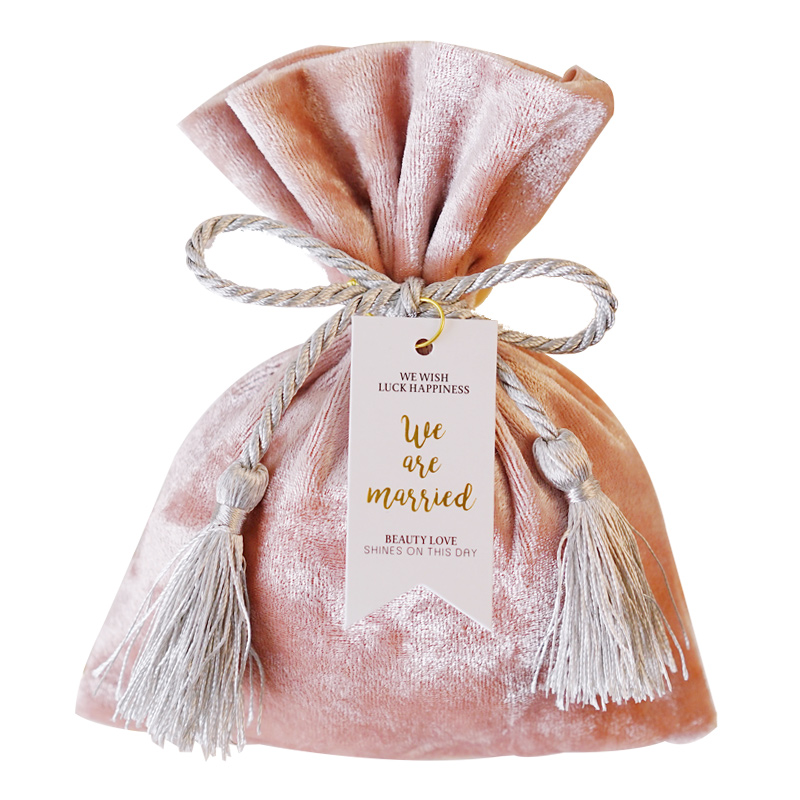 Gift Bag With Tassel Cloth Candy Bags For Wedding Engagement Favors Party Gift Packaging Candy Box Satin Bags Fringe With Card