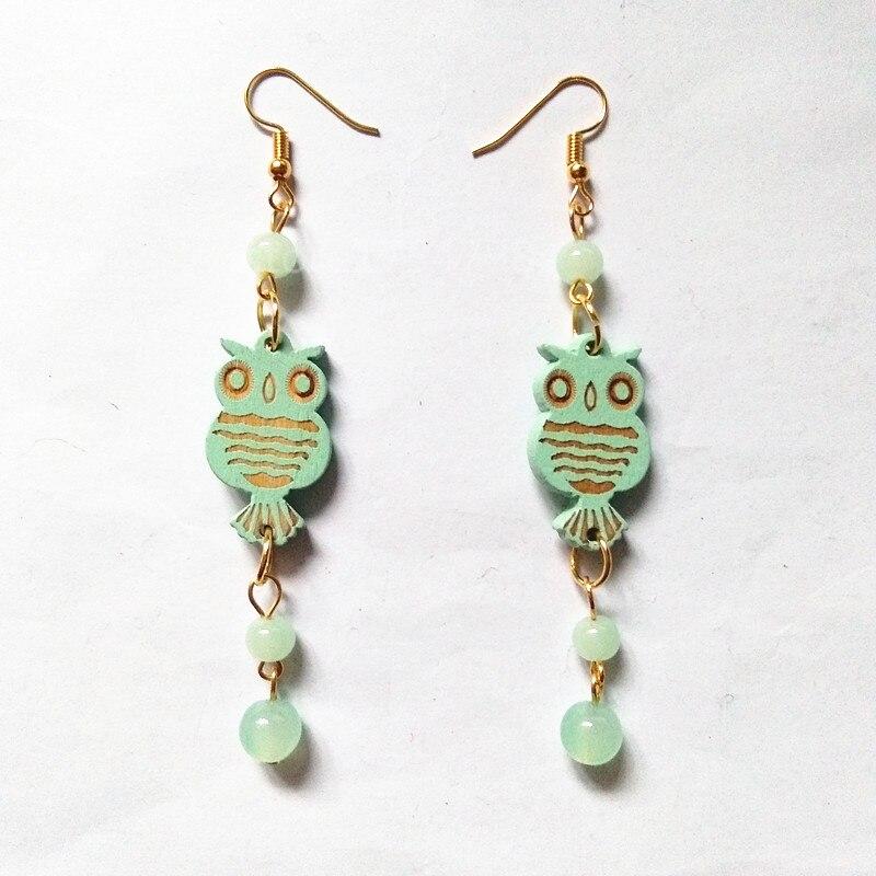Wood Love Owl Earrings Women Drop Earrings Fashion Jewelry Eardrop Personality Hollow Hoop Earrings