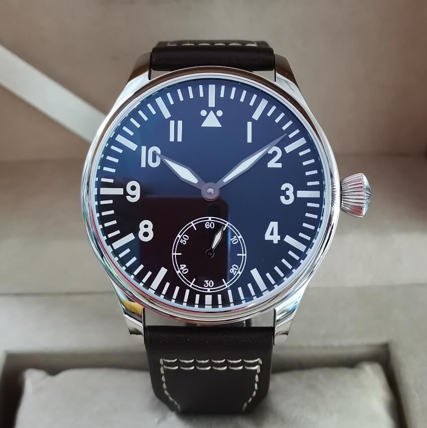 GEERVO No Logo Pilot 44mm Manual Mechanical Men's Watch Blue Luminous Seagull ST3621 Movement G095