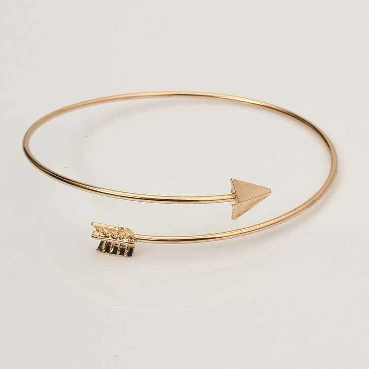 1 pieza elegante del brazo superior de las mujeres del brazalete del oro de la pulsera de la flecha de la vendimia del brazalete del brazo del brazalete del Punk de la manera