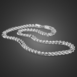Image 5 - Men choker necklace silver mens punk style 7.5mm 51cm whip chain necklace Fashion cool boy 925 sterling silver jewelry pendant