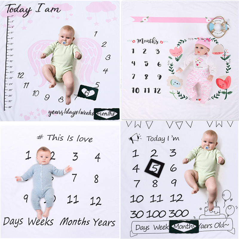 Baby Milestone Blankets Newborn Cute Floral DIY Photography Background Props Infant Swaddle Wrap Bed Crib Quilt Bathing Towel