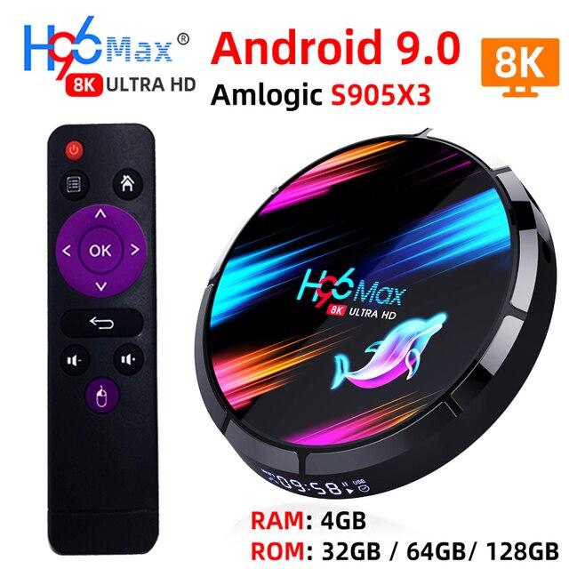 صندوق تلفاز ذكي H96 MAX X3 أندرويد 9.0 مع ذاكرة الوصول العشوائي 4G ROM 32G 64G 128G Amlogic S905X3 2.4G WIFI BT4.0 جوجل ميديا بلاي Andorid صندوق التلفزيون