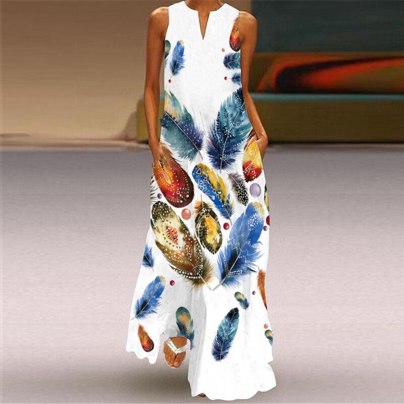 MOVOKAKA New White Dress 2021 Casual Plus Size Sleeveless Long Dresses Summer Woman Butterfly Print Girls Beach Maxi Dress Women 5