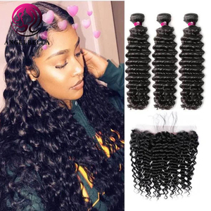 Angelbella 100% Peruvian Hair Weave Bundle Deals 18 inch Natural Black Double Weft Deep Wave Remy Hair 4 Bundles With Frontal
