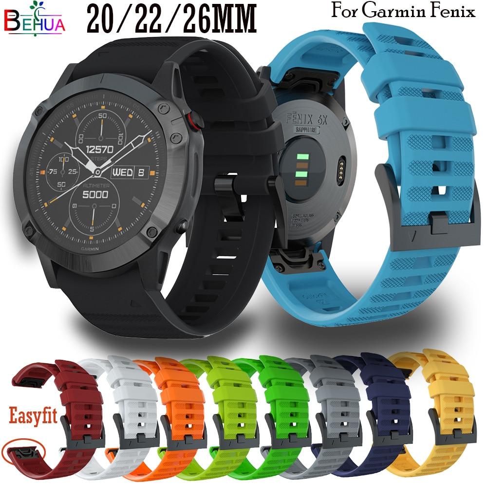 20 22 26mm Silikon Sport Armband Für Garmin Fenix 6X 6 6S 5X 5 5S SmartWatch Schnell release Easyfit forerunner 945 Armband