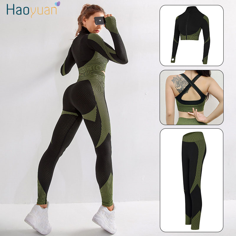 HAOYUAN Knitted Sport 3 Piece Set Women Tracksuit Lounge Wear Outfits Autumn Winter Clothes Sweat Suits Fitness Matching Sets