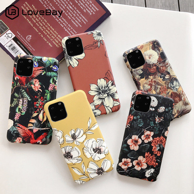 Lovebay For iPhone 11 Case Flower Leaves For iPhone 7 8 6 6s Plus 11 Pro X XR XS Max Matte Floral Phone Case Soft IMD Back Cover