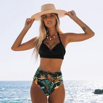 Sexy High Waist Bikini 2020 Halter Plus Size Swimwear Women Swimsuit Female Bikini Set Bodysuit Bathing Suit Summer Biquini XXL 2