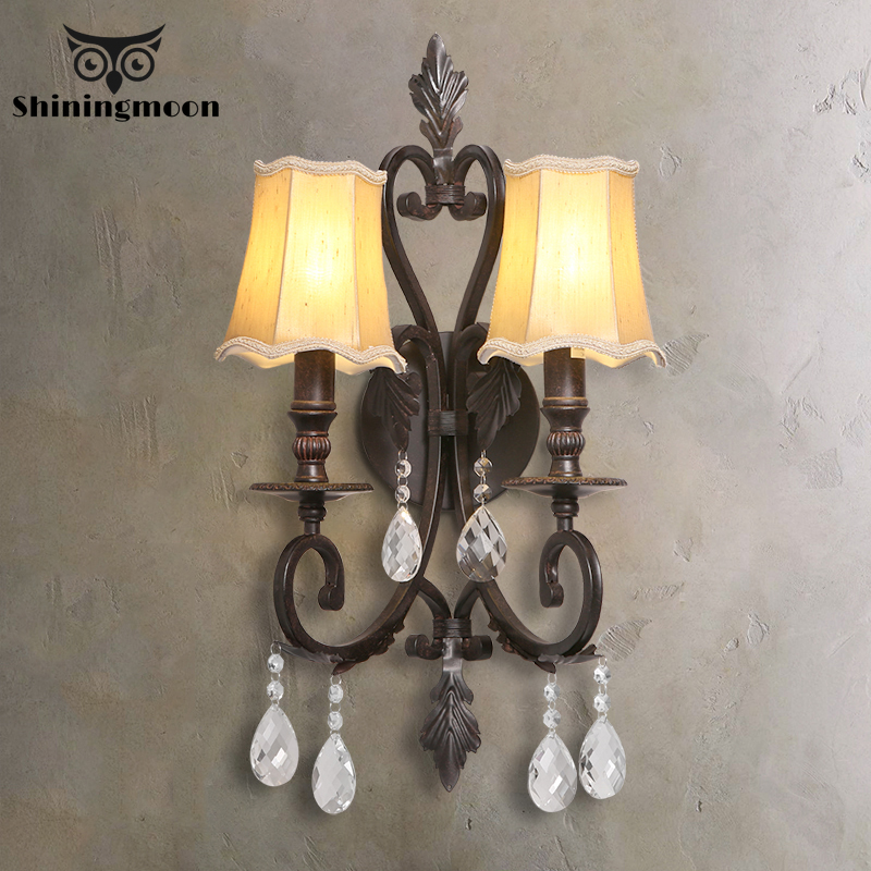 France Classical Wall Lamps Iron Crystal Lamp Stairs Corridor Indoor Sconce Bedroom Living Room Light Fxture