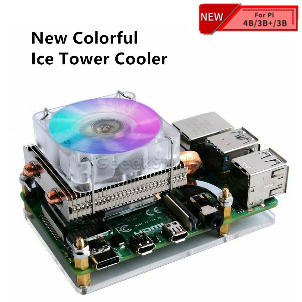 New! Low-Profile Ice Tower Cooling Fan Metal Case 7 Colors RGB Changing LED Light with Bracket for Raspberry Pi 4 B / 3B+ / 3B