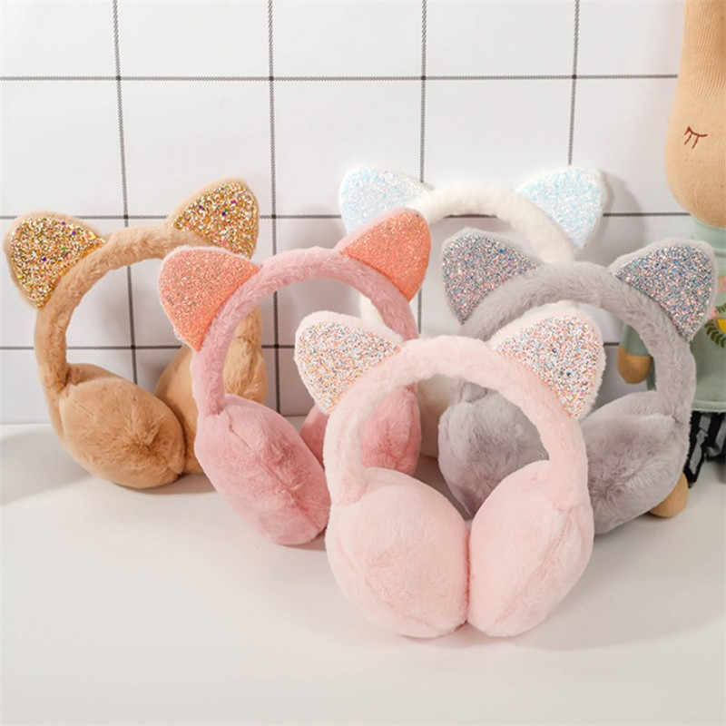 Brand New 2019 Fashion Women Girl Fur Winter Ear Warmer Earmuffs Cat Ear Muffs Earlap Glitter Sequin Earmuffs Headband Newest