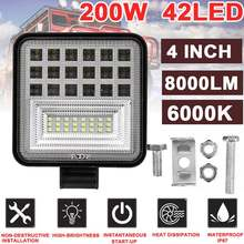 4 inch 200W 8000LM Bright 42 LED Light Car Work Light Spotlight Drivin