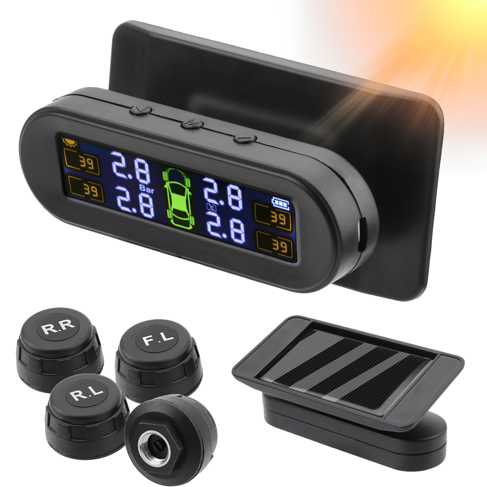 Image 5 - Car Tyre Pressure Monitor Temperature Warning Fuel Save Solar TPMS Tire Pressure Monitoring System With 4 External SensorsTire Pressure Monitor Systems   -