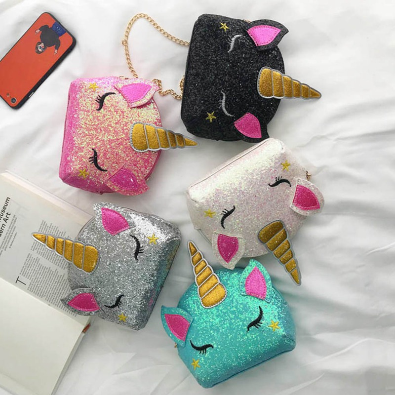 New Fashion Sequins Unicorn Small Coin Purse Women Cute Chain Bag  Girl Summer Bag Wallet