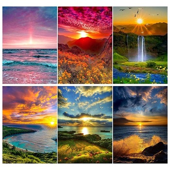 6 Sets 5D Diamond Painting Art Dotz Paint By Numbers Kits Full Drill for Adult Kids Sunset Home Wall Decor - discount item  19% OFF Arts,Crafts & Sewing