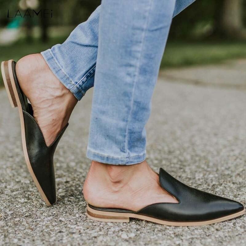 Женские кожаные шлепанцы Laamei, на низком каблуке, с острым носком, сандалии в стиле пэчворк, женская обувь, 2020|Тапочки|   | АлиЭкспресс - Модные сандали