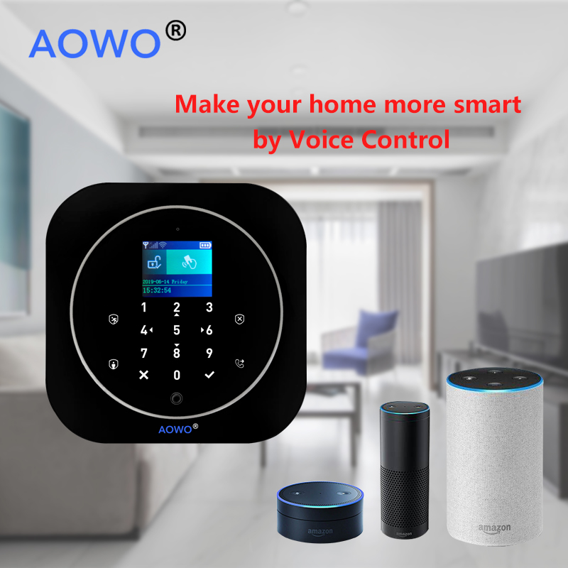 WiFi GSM Wireless Security Alarm mit Tuya APP Alexa Google Smart Home Voice Control TouchScreen RFID IP Cam Touchscreen RFID - 4