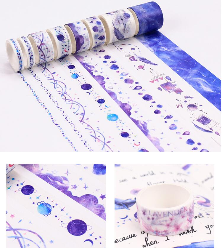 8Rolls/set  Washi Tape Lot, Cute Girls DIY Stickers Scrapbooking Pink Blue Space Series Masking Tape