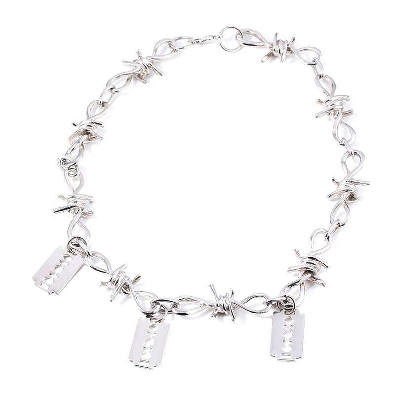 Punk osobowość ciernie łańcuszek naszyjnik fajna żyletka wisiorek srebrny kolorowy naszyjnik dla kobiet mężczyzn Hip Hop klub nocny biżuteria