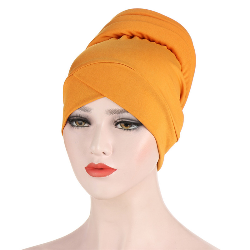 Fashion Stretchy Turban Hat Mexican Style Solid Cap Women Islamic Headwrap Dubai Arab Bonnet Elegant High Quality Hats