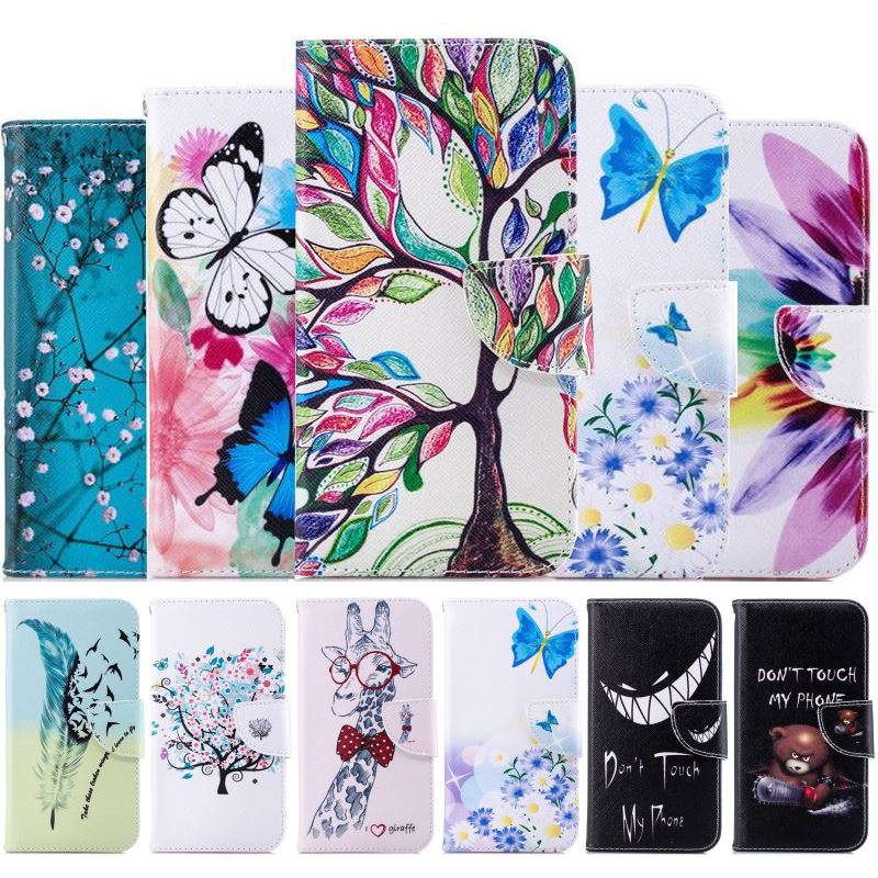 Phone Cover Flip <font><b>Case</b></font> For <font><b>LG</b></font> G7 ThinQ G6 Mini G5 Q6 K7 K8 K10 2017 2018 V20 <font><b>V30</b></font> Stylo4 G3 Plum Tree Capa Wallet Leather Bag D07Z image