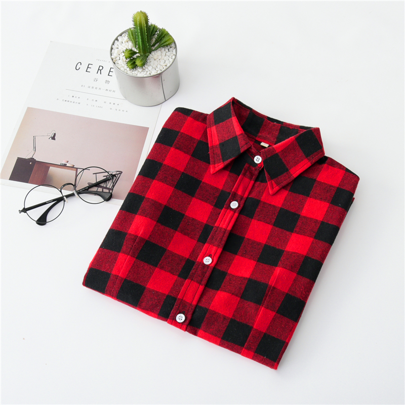 2020 New Women Blouses Brand New Excellent Quality Cotton 32style Plaid Shirt Women Casual Long Sleeve Shirt Tops Lady Clothes 17