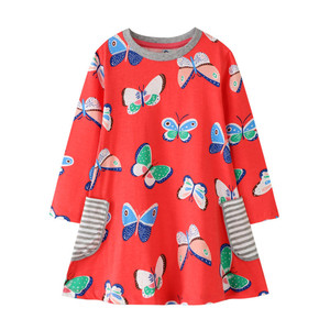 Jumping Meters 3-12T Long Sleeve Autumn Girls Pockets Cotton Clothing Butterflies Print Party Girls Dresses