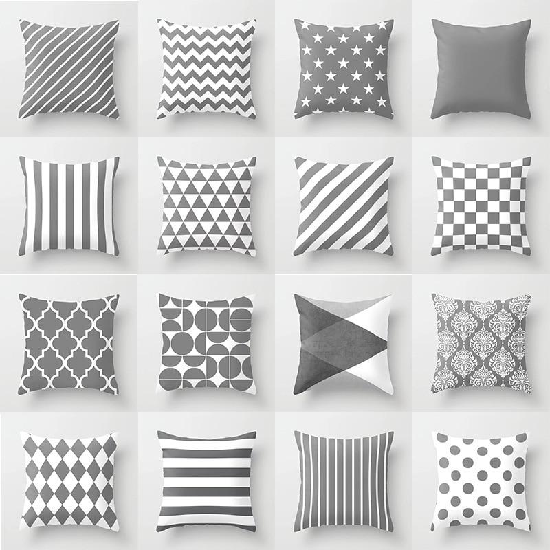 Simple Gray Pillow Cover Geometric Pattern Dot Stripe Peach Fur Cushion Cover Decoration Soft Pillowcover Sofa Car Decor