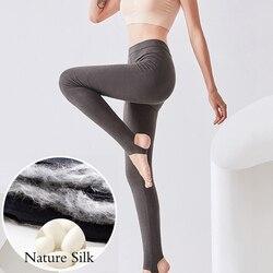 High waist leggings women pure silk thermal thick warm Long Johns skinny pants plus size winter black trousers XXXL