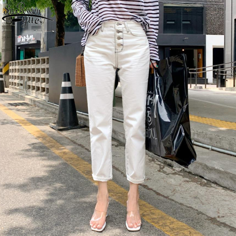 Korean Style Autumn New Women's Classic All-match Elastic Jeans for Women White Straight Casual Pants Capri Jeans Woman 10417