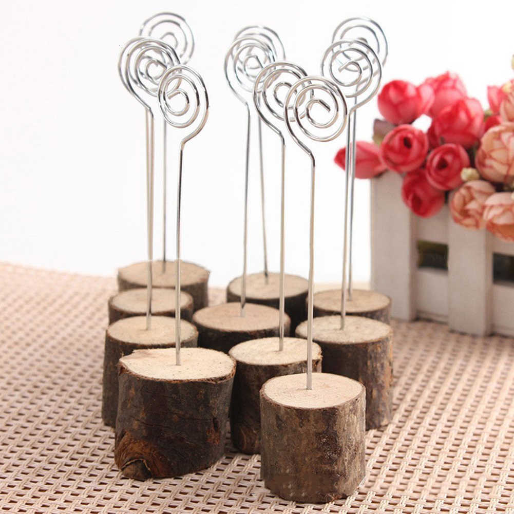 10pcs/set Wooden Stump Wedding Party Reception Place Card Holder Stand Number Name Table Menu Picture Photo Clip Seat Decoration