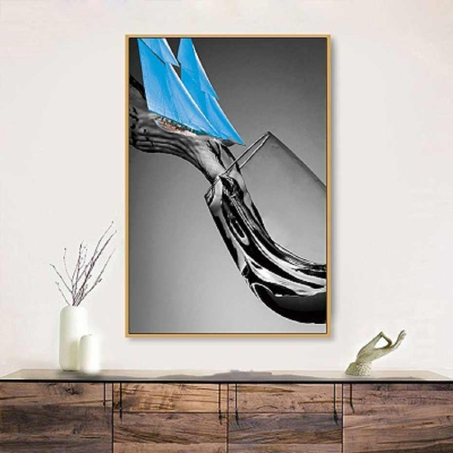 Nordic Kreatif Hitam Putih Anggur Kaca Dinding Seni Lukisan Kanvas Blue Sail Dinding Seni dan Poster Living Kamar Home dekorasi