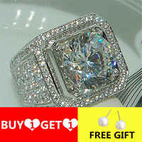 YWOSPX Luxury Full Blue Crystal Big Stone AAA Cubic Zirconia Rings For Men And Women Male Metal Plated Zircon Ring SZ 6-13 Y40