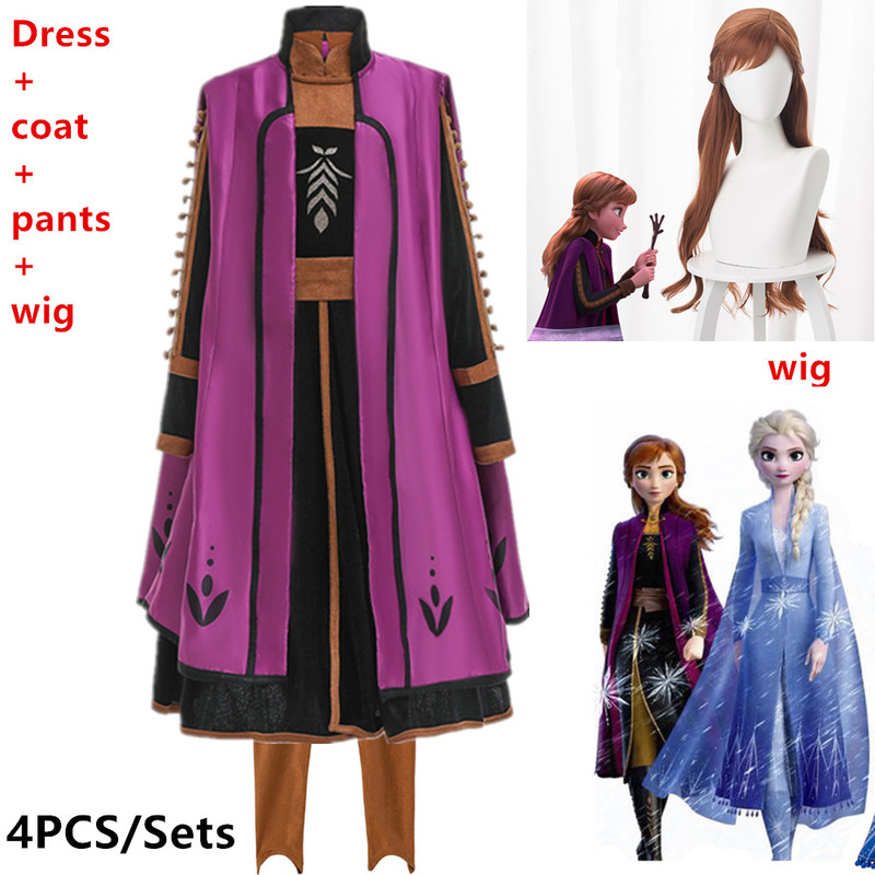 New Dress For Girls Clothing Frozened 2 Anna Princess Set Christmas Cosplay Elsa Birthday Party Evening Party Dress+Brown Wig