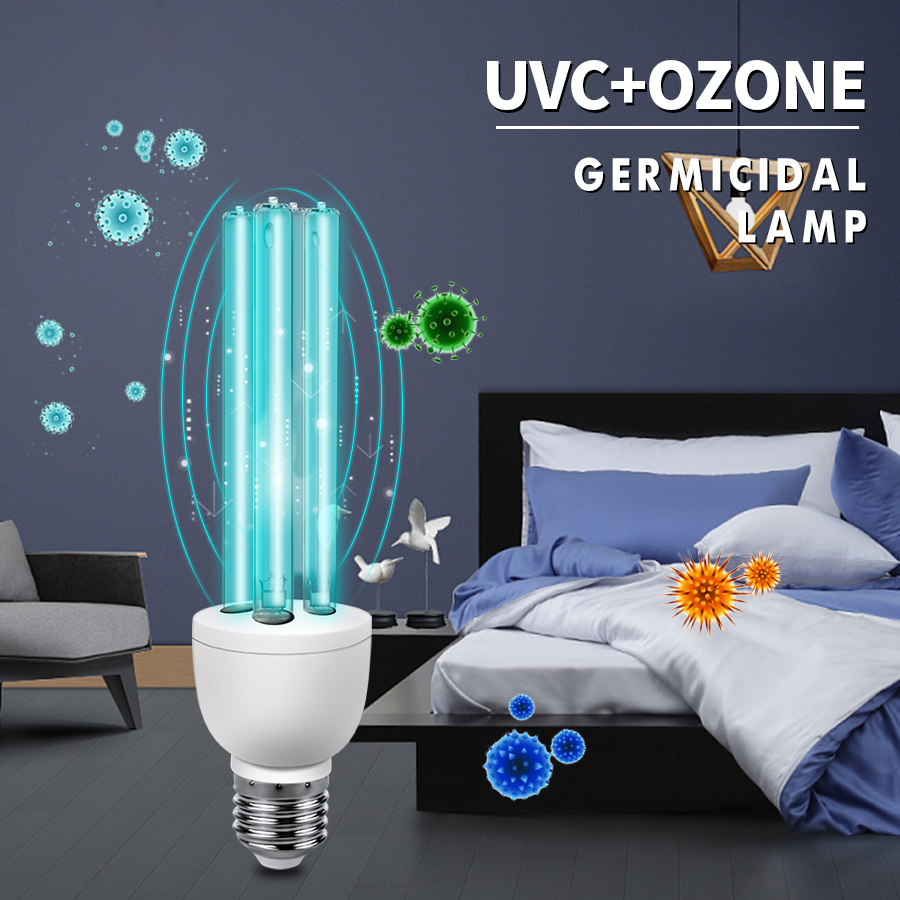 <font><b>E27</b></font> UVC Disinfection Light Tube <font><b>Bulb</b></font> Ultraviolet <font><b>UV</b></font> Lamp Ozone Sterilization Mites Lights Germicidal Lamp <font><b>Bulb</b></font> 220V 110V 15W 25W image