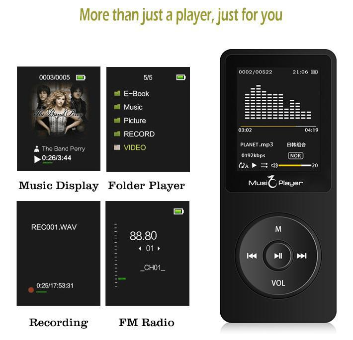 Touch Screen And Built-in 16G HiFi Portable Walkman With Radio /FM/ Recording New Version MP3 Player With Bluetooth Speaker