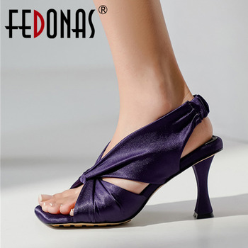 FEDONAS Sexy Pleated Women'S Shoes Of Large Size Summer Fashion High Heels Women'S Sandals 2020 Newest Party Prom Shoes Woman