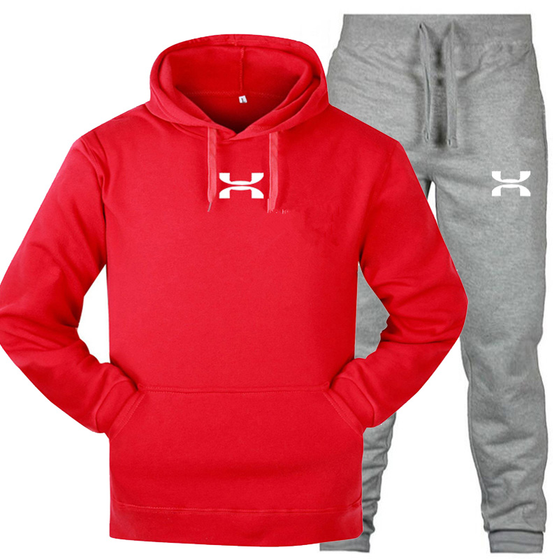 New Men's Gym Sweater Sports Suit Men's Fashion Personality Hooded Casual Wear Crossfit Outdoor Running Fitness Clothes