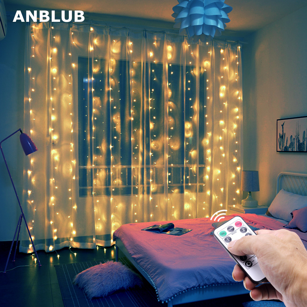 ANBLUB 3M USB LED Curtain String Lights Flash Fairy Garland Remote Control For New Year Christmas Outdoor Wedding Home Decor