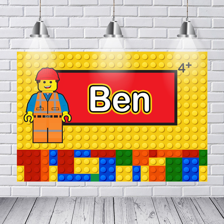 Изготовленные на заказ строительные блоки Lego Emmet красочный день Рождения фотография фоны компьютерная печать фон для фото на вечеринке