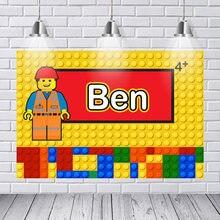 Personalizado lego blocos de construção emmet colorido aniversário fotografia fundos computador impressão festa foto pano de fundo